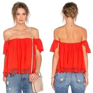Lovers + Friends Coral Life's a Beach Top Lace Xs